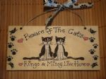 BEWARE OF THE CATS OR ANY OTHER PHRASE WOODEN PERSONALISED up to 3 Kitty Cat CHARACTERS SIGN PLAQUE HANDMADE